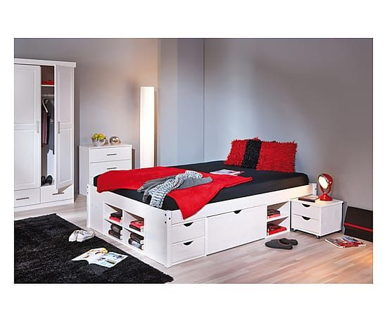 Struttura letto matr. in legno con comodino Till - 160x209x48 cm Base con 4 cassetti grandi, 2 cassetti piccoli e 8 scomparti aperti. Comodini estraibili.