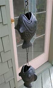 Bronze fish rain chain.