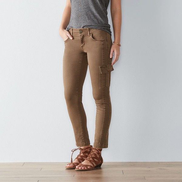 Women's SONOMA Goods for Life™ Skinny Cargo Pants ($20) ❤ liked on Polyvore featuring pants, dark grey, skinny fit cargo pants, zipper pants, slim fit pants, skinny cargo pants and zip pants