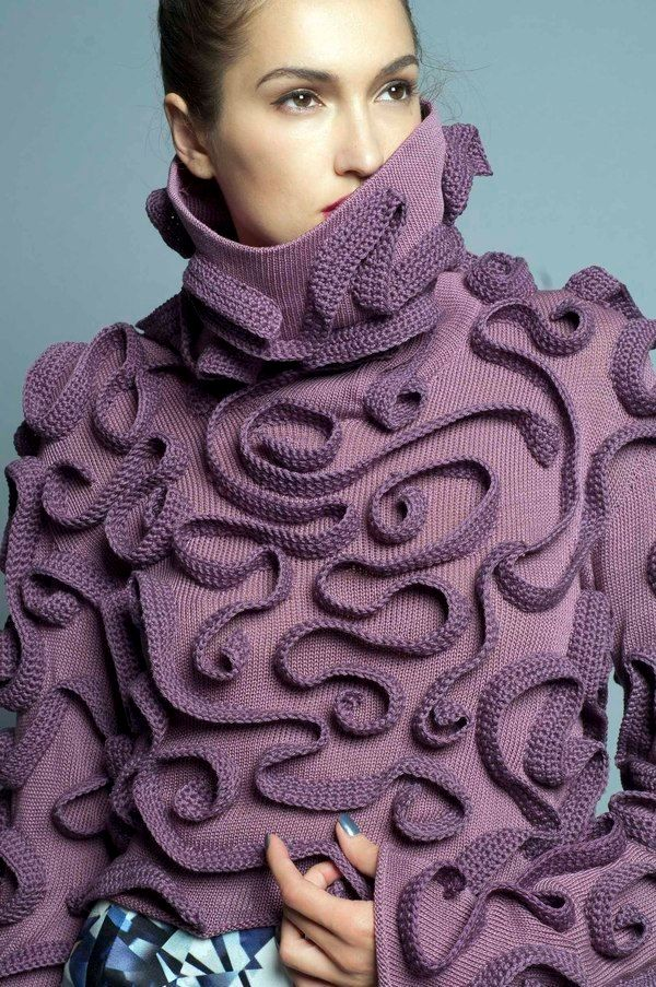 Crochet inspiration~ Surface embellish a knit sweater with crocheted chains arranged in a freeform design. { Wizo Haifa by Miri Davidovitz} by rosanne