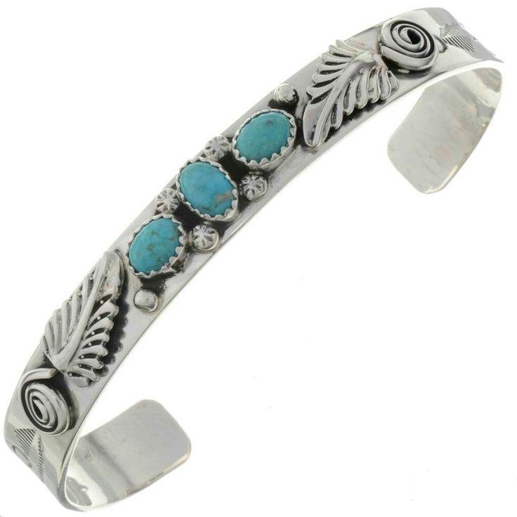 Natürliches Kingman Türkis Armband Damen Navajo Silber Manschette 0061