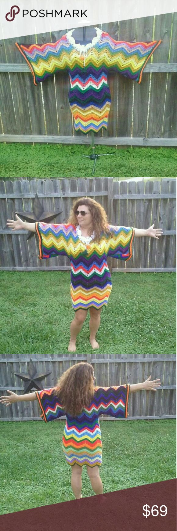 """vintage Afghan Chevron Stripe Festival Dress I made this dress from a vintage afghan. Measures 39"""" long 20"""" across chest while hanging. I'm wearing it in the pictures, I wear a size 10 - 12. Its stretchy and very forgiving. Dresses Midi"""