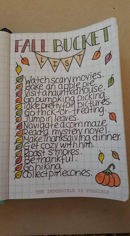 Fall bucket list layout including all the things to do in the autumn cute banner header and fall colors on this spread