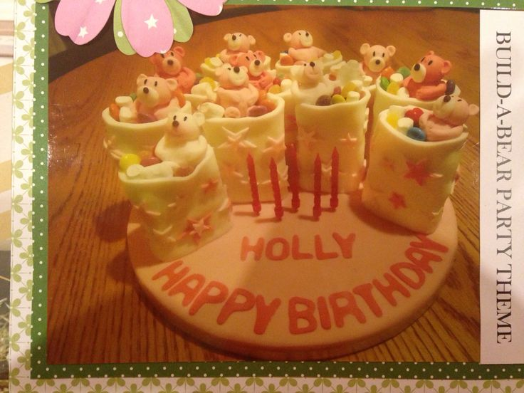 Build a bear party themed birthday cake... Individual cakes...