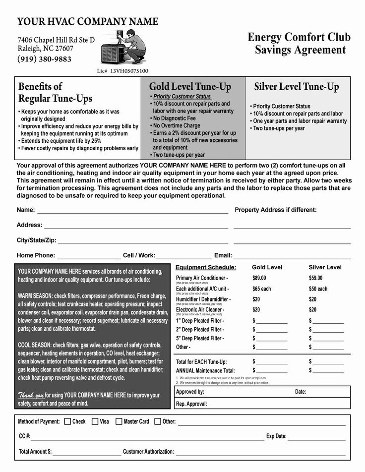 Hvac Service Contract Template Inspirational Warehouse