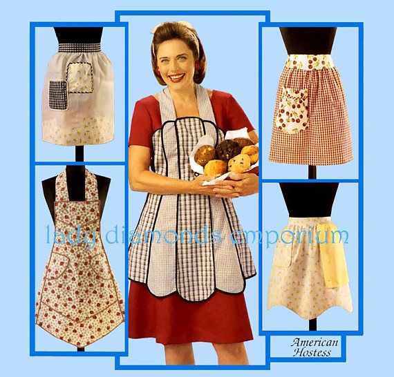 McCalls 3979 American Hostess Retro Aprons in 5 Styles size S