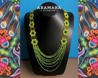 Collar mexicana Huichol flor de collar y pendientes por Aramara