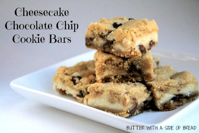 Cheesecake Chocolate Chip Cookie Bars ~ these are heavenly! Butter with a Side of Bread #recipe