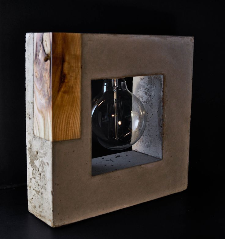 Handmade Design Concrete and Wood Table Lamp