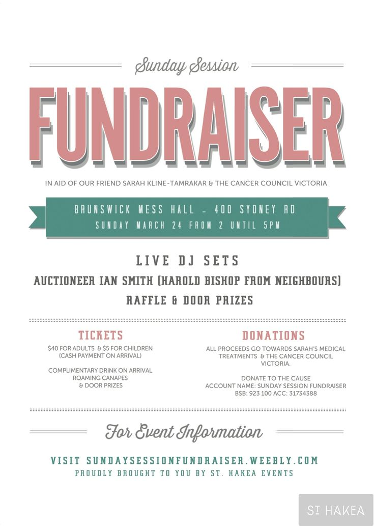 Sunday Session Fundraiser event flyer. Proudly bought to ...
