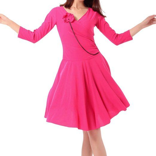 Women V-Neck 3/4 Sleeve Ballroom Rumba Cha Cha Latin Dance Dress