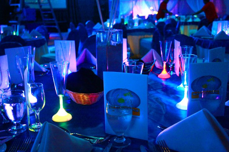 'Out of this World' Gala Dinner table decor in Fiji.