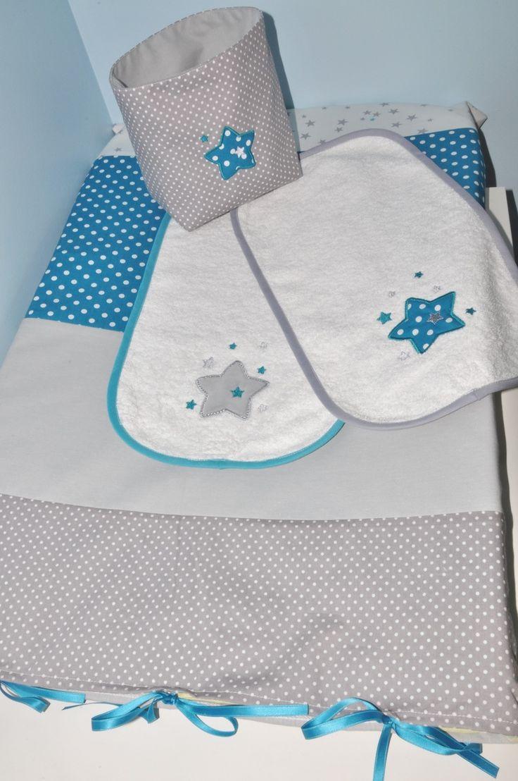 housse matelas à langer personnalisé +1 lange (couleurs au choix) étoiles brodés pour chambre bébé : Puériculture par lbm-creation