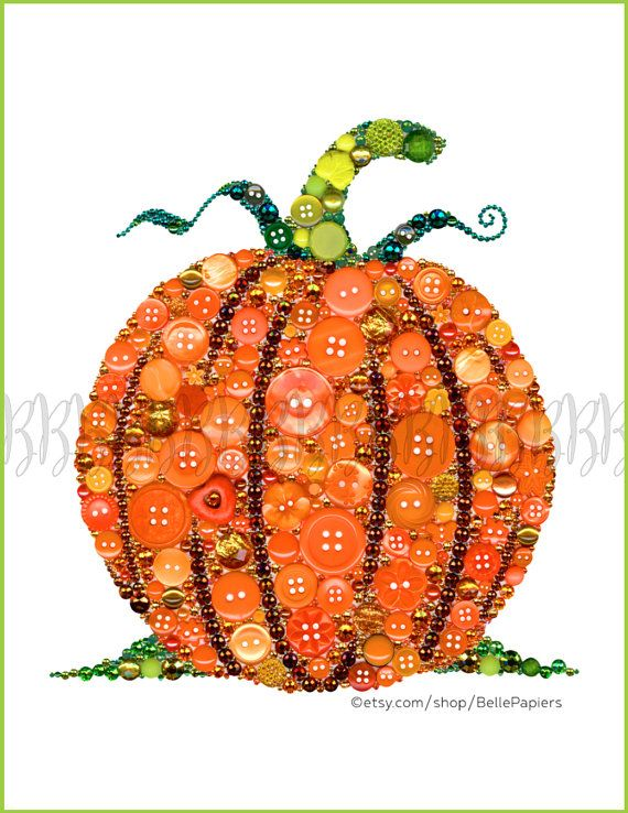 Button Art Print Pumpkin Thanksgiving Decoration Harvest Autumn Fall Art Pumpkin Patch Halloween Pilgrims Turkey Pies Gravy Cooking Decor