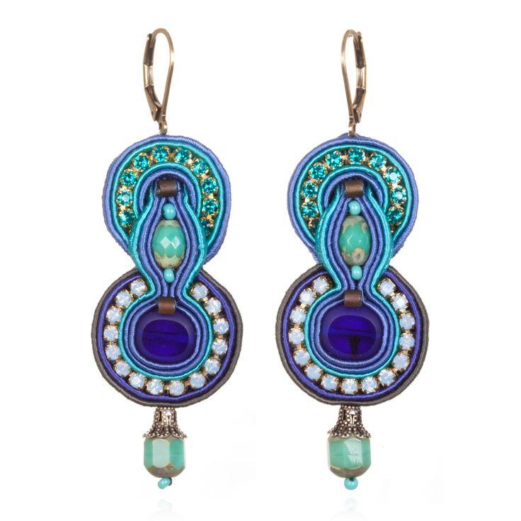 "dori csengeri  INDIGO EARRINGS  Handmade glass beads, silk cord, Swarovski crystals  Leather backing  Length 3""  Width: 1""  French wire clip $228"