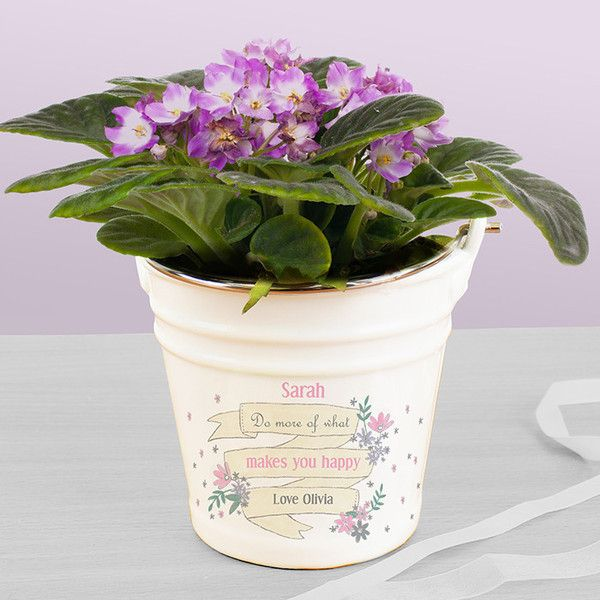 Our porcelain buckets are quite unique and ideal for your houseplants.  A great reminder of a special occasion with your own thoughtful words.
