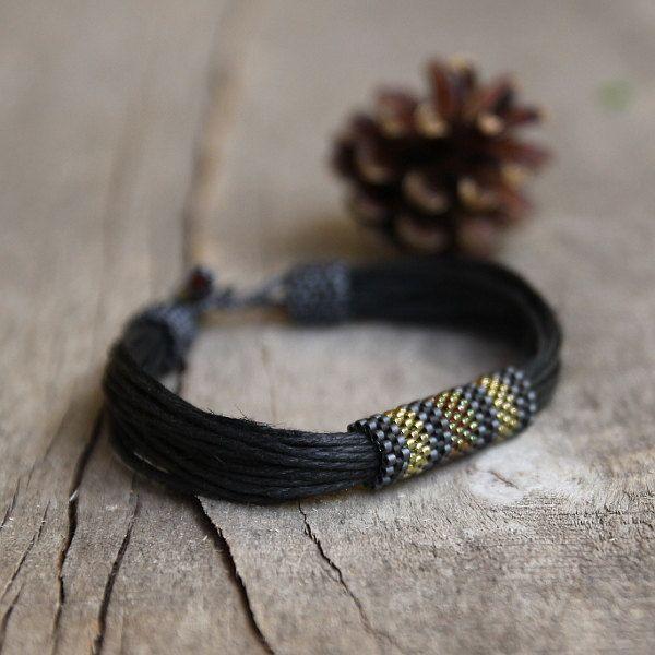 Black mens bracelet, beaded bracelet for him, tribal bracelet for men, organic jewelry, natural gift for him - pinned by pin4etsy.com