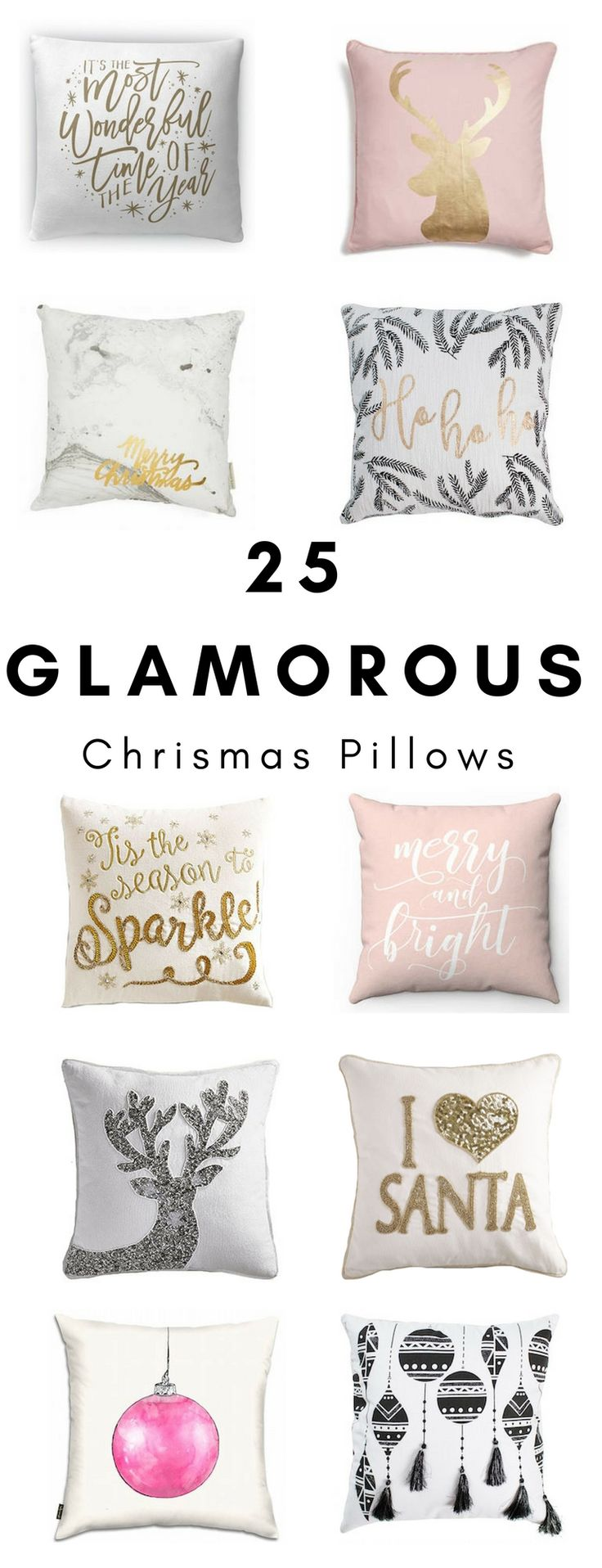 25 glamorous Christmas pillows are now on the blog! Come check out these festive holiday pillows! They'll add some wow factor to your Christmas decor!