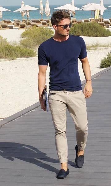 blue t shirt with chinos