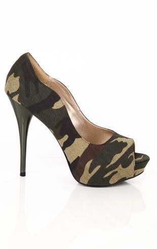 Deb Shops peep toe #camo #pump with scalloped sides $23.17
