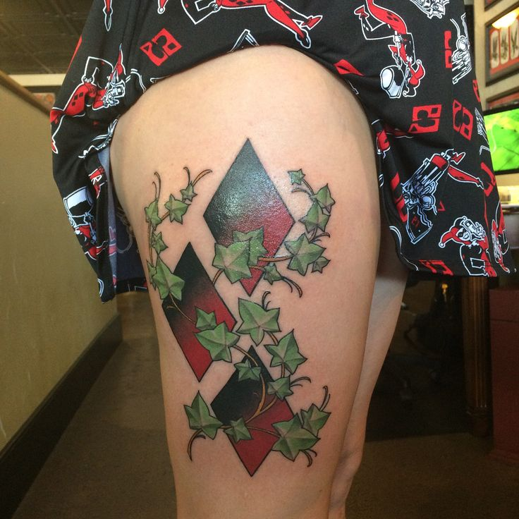 First tattoo! Harley Quinn/Poison Ivy- Roger at BomberCrew Tattoo Carbondale Il