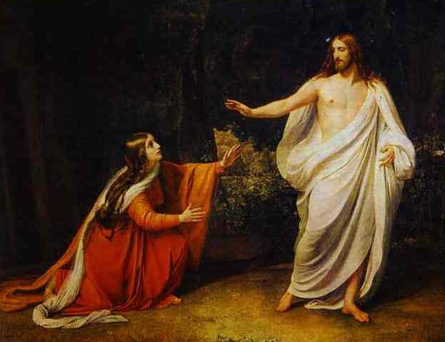 "Jesus said to her, ""Mary!"" She turned to him and said ""Rabbouni!"" (meaning ""Teacher"") Jesus then said: ""Do not cling to me, for I have not yet ascended to my Father and your Father, to my God and your God!"" Mary Magdalene went to the desciples. ""I have seen the Lord!"" she announced. Then she reported what he had said to her. John 20:16-17"