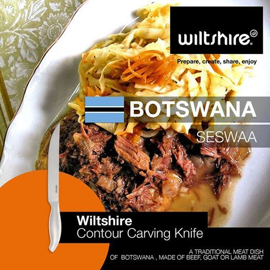 Seswaa: A traditional meat dish of Botswana, made from beef, goat, or lamb meat. See full recipe here: www.facebook.com/wiltshiresa