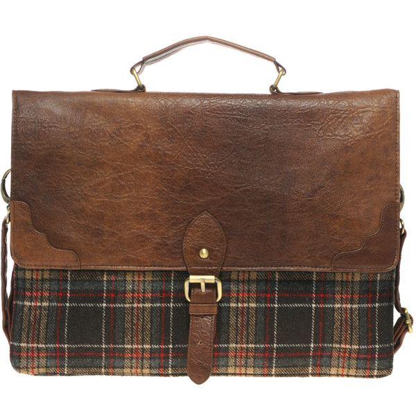 Asos Plaid Retro Satchel ($55) ❤ liked on Polyvore featuring bags, handbags, accessories, purses, bolsas, men, satchel purse, brown purse, fold over purse and satchel handbags