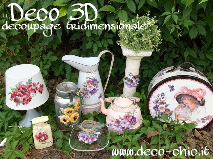 DECO3D: tecnica semplicissima e di grande effetto grazie alle carte studiate per il decoupage tridimensionale!!!   store online: www.deco-chic.it