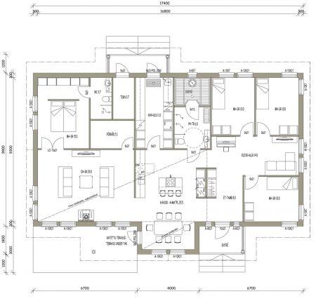 Talomallit | Luonnospankki | 1-kerros | L-14038 / 158 m²  Liian iso, mutta keittiö ja olkkari samalla puolella. iso makkari kiva.