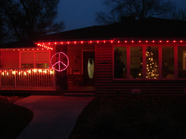 Our Outside Christmas Decorations Red Lights Around The