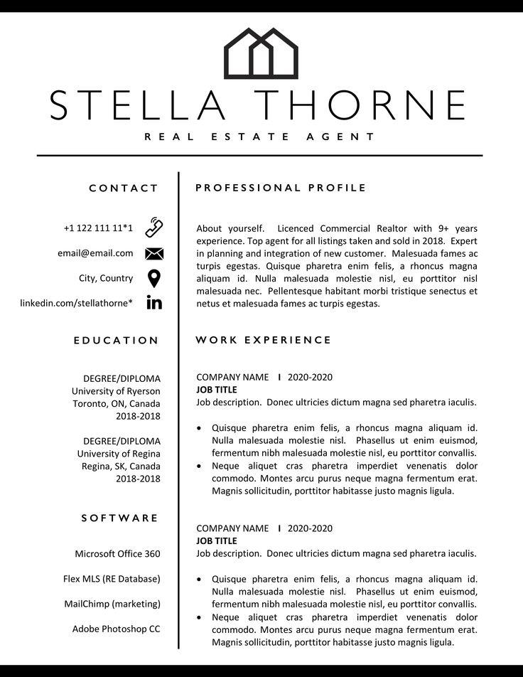 Realtor Resume Template Realtor CV Real Estate Agent