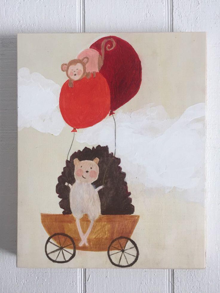 Hedgehog and Monkey by muralsbyshauna on Etsy https://www.etsy.com/listing/267791081/hedgehog-and-monkey