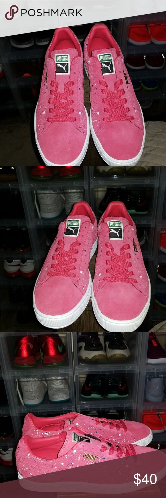 New Puma Classics Suede Splatter Sneaker/ Gymshoe New without box Puma Classics Suede Splatter Sneakers. Pink suede shoes with blue, white, and grey paint splatter design. Size 12 Mens Puma Shoes Sneakers