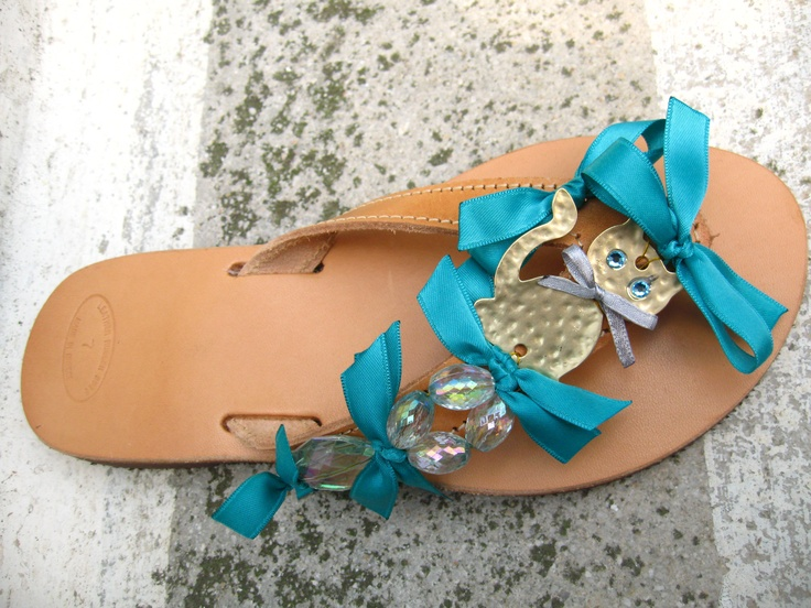 """Blue eyes cat''  Leather sandal decorated with turquoise crystalls and ribbons, metallic golden cat and crystalls swarovski."