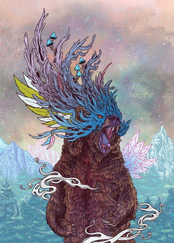 """""""Journeying Spirit (Bear)"""" metal poster by Mat Miller #animal"""