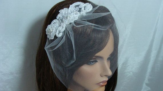 Bridal Tulle Birdcage Veil with Lace by SusanCarolBridal on Etsy