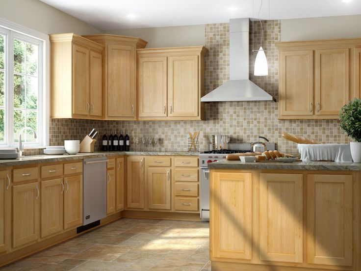 Kitchen kompact mellowood maple buy this at laramie for Flooring before cabinets