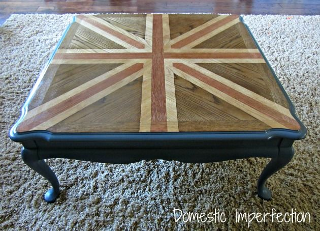 Union Jack Coffee Table {With A Twist}Coffe Tables, Tables Redo, Coffee Tables, Domestic Imperfect, Man Caves, Diy Projects, Home Furniture, Jack Coffee, Union Jack