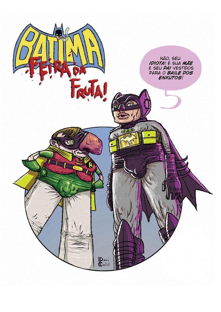BATIMA FEIRA DA FRUTA EM QUADRINHOS  Organização em e-book  dessa que é uma homenagem ao maior clássico da dublagem caseira do Brasil. Iniciativa sem fins lucrativos,  com a participação de vários artistas emprestando seu talento para criar uma versão em quadrinhos do vídeo Feira da Fruta do Batman. Uma maneira de reconhecer, e agradecer, esse sensacional trabalho.