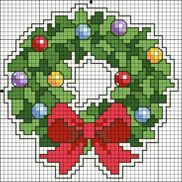 Christmas wreath cross stitch.