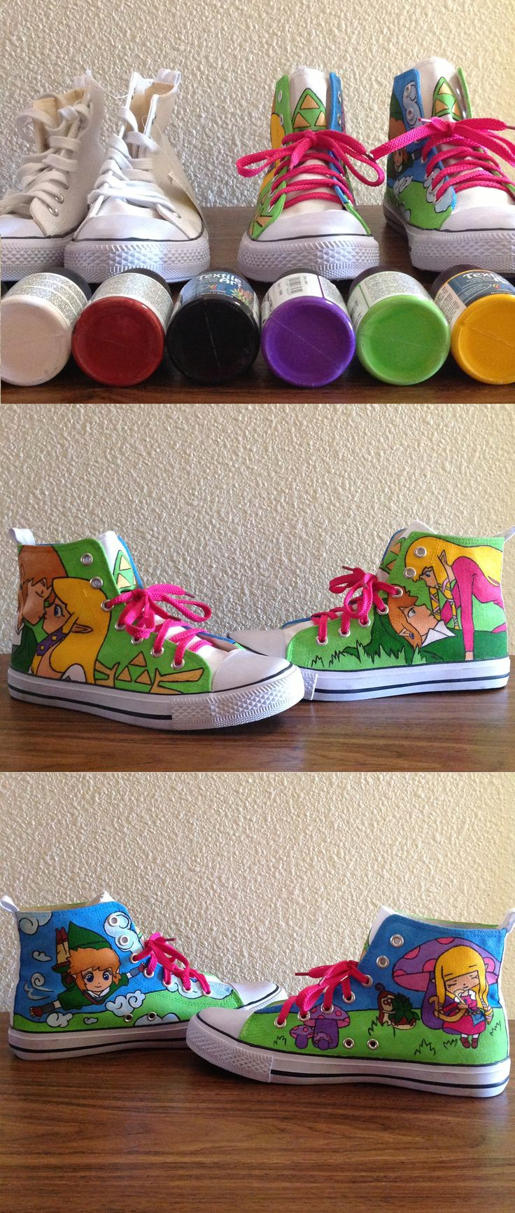 My customized canvas shoes are finished after two days working on it! The legend of Zelda: Skyward sword. Cute and chibi. Link Zelda Nintendo  Mis zapatillas personalizadas con magia :)