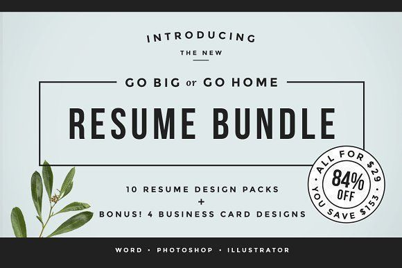 Go Big or Go Home! The Resume Bundle by Refinery Resume Co. on @creativemarket Professional printable resume / cv cover letter template examples creative design and great covers, perfect in modern and stylish corporate business design. Modern, simple, clean, minimal and feminine style. Ready to print us letter and a4 layout inspiration to grab some ideas. In psd, indd, docs, ms word file format.