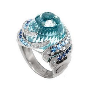 Aquamarine and sapphire ring by Mathon Paris