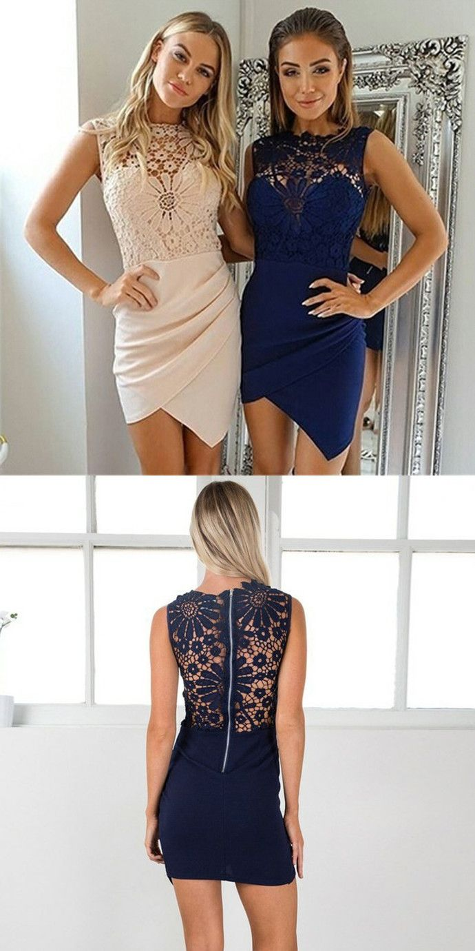 d17751ebb159 Bodycon Asymmetrical Pearl Pink Dark Blue Homecoming Dress with Lace by  MeetBeauty