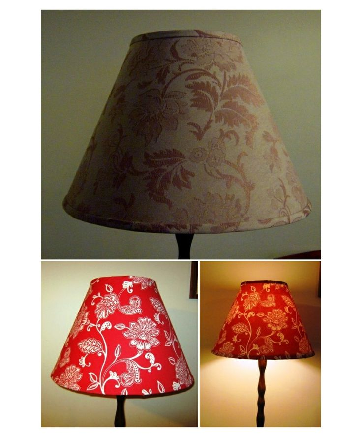 Lampshade recycle from dull conservative to cheery funky paisley red.