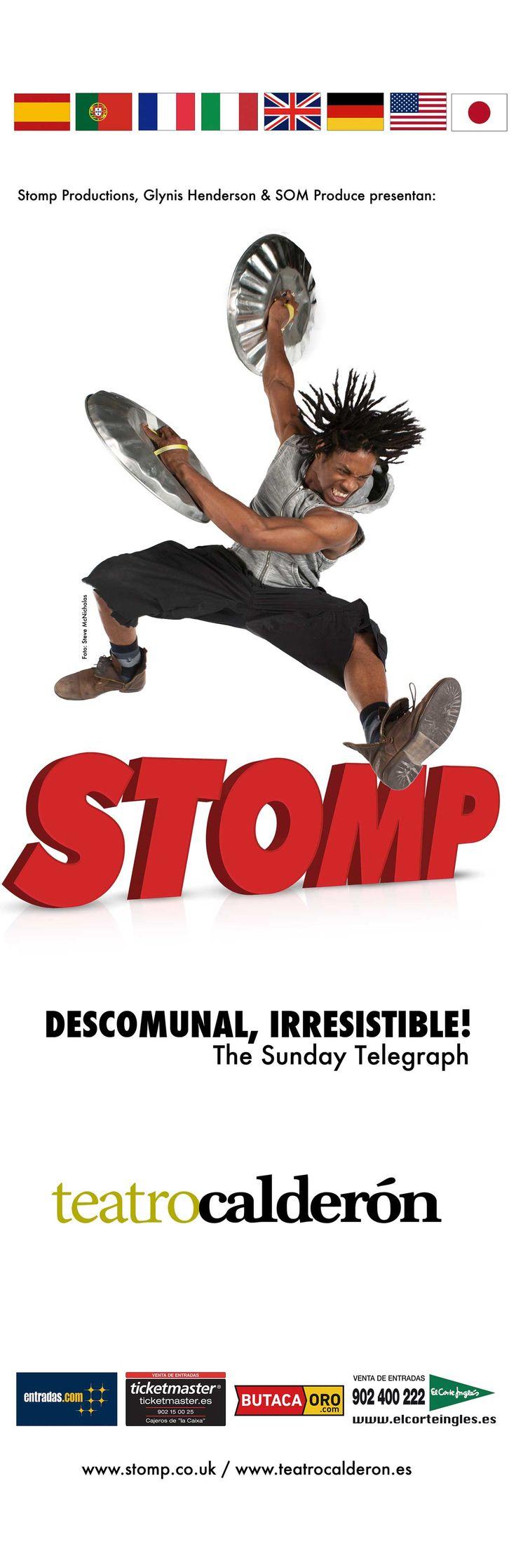 """Campaña de publicidad en quioscos de Madrid de la obra """"Stomp"""" la cual tendrá lugar en el Teatro Calderón a partir del 18 de agosto de 2015."""