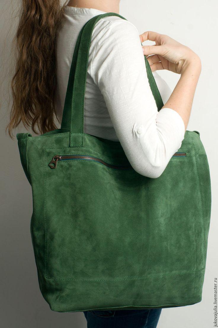 Купить Сумка из натуральной кожи замши спилок изумрудная зеленая травяная - тёмно-зелёный, сумка