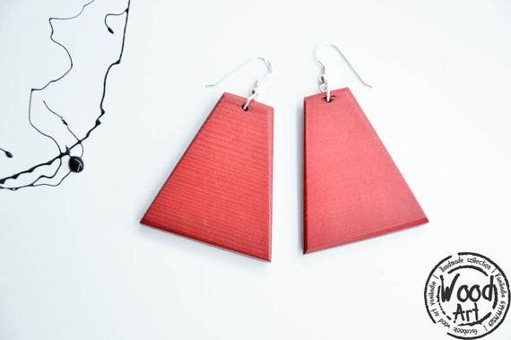 Big Red Wood Earrings Asymmetrical Earrings by TheWoodArtShop