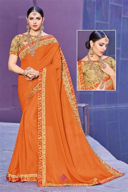 b18cc7ea8e6fe Designer Party Wear Orange Color Chinon fabric Plain Saree with Lace Border  and Fancy Blouse